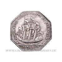 Jeton octogonal argent, Navire Le Languedoc 1762