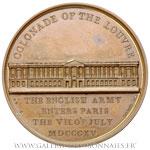 Médaille, Entrée des Anglais à Paris et la colonnade du Louvre 1815, par BRENET