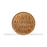 Épreuve 20 Baiocchi 1848 G Gaeta en cuivre.